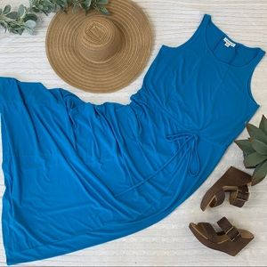 Coldwater Creek blue drawstring knit maxi dress